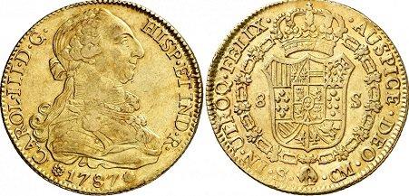 8 escudos Sevilla busto propio 1787