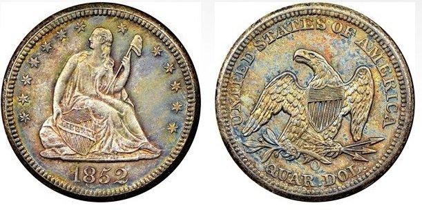 1852O-quarter-dollar-valor-moneda-de-25-centavos-de-plata