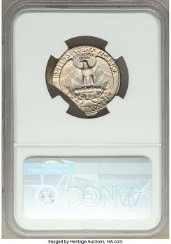 Quarter dollar 1967 Mint error broadstruck double curved clips obverse wheel mark back