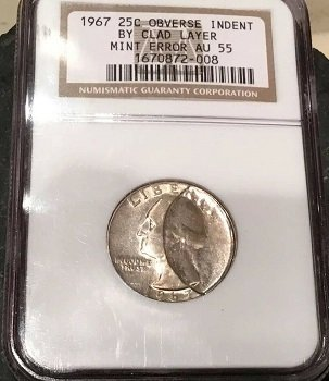 Quarter dollar 1967 NGC AU-55 CLAD LAYER OF ANOTHER COIN