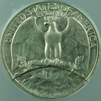 Quarter dollar 1967 PARTIAL COLLAR DETACHED LAMINATION reverse ANACS EF-40