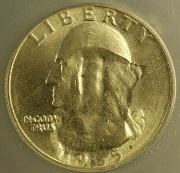 Washington quarter dollar 1965 Struck Through