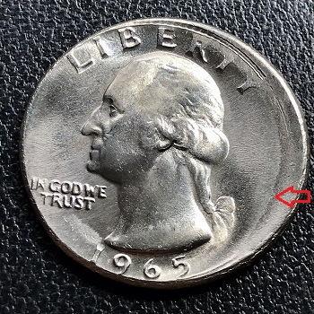 Washington quarter dollar 1965 off-center obverse
