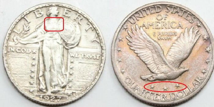 coin values dollars-Standing liberty 1927