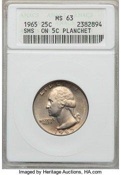 expensive quarters 1965 5C planchet