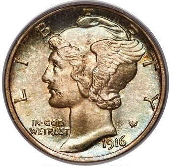silver coins years-mercury-dime 1916-D