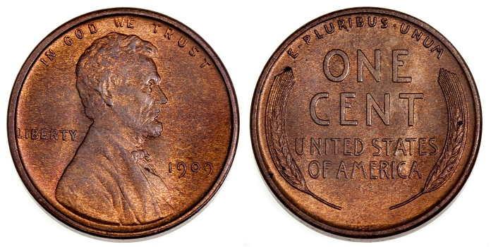 1943 steel penny no mint mark 1909 Penny