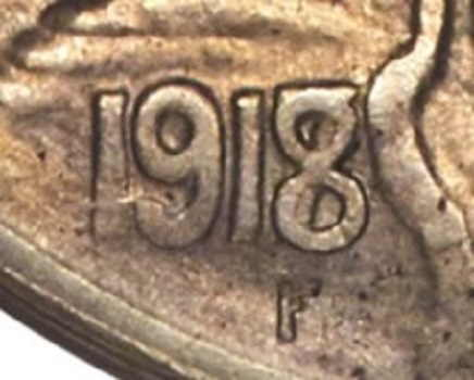 buffalo nickel with no date 1918-7 D