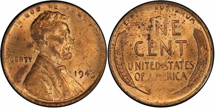 1943 copper penny worth RD