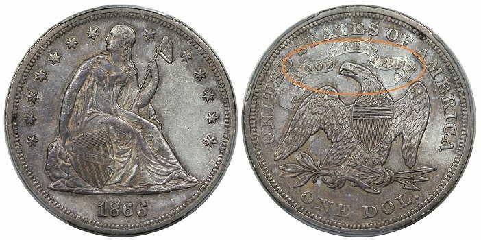 1866 Dollar Seated Liberty Motto