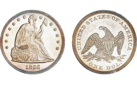 1866 Dollar Seated Liberty No Motto