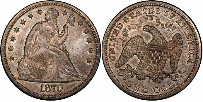 1870 dollar Liberty seated