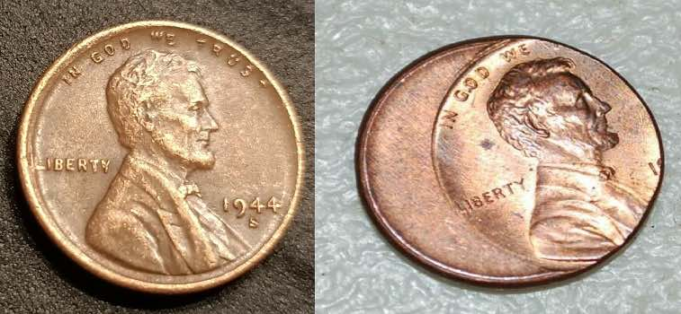 1944 s wheat penny off center