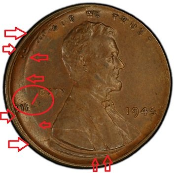 1945 wheat penny double strike off center