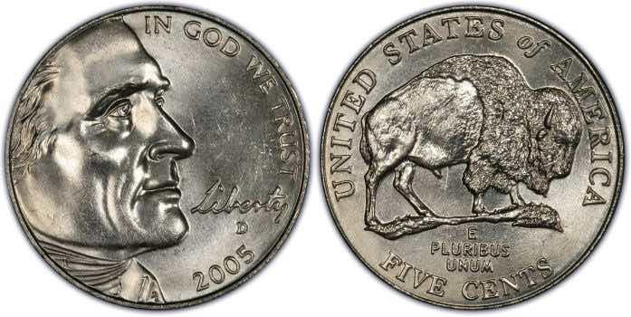 buffalo nickel 2005 value