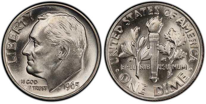 1965 Roosevelt Dime MS67