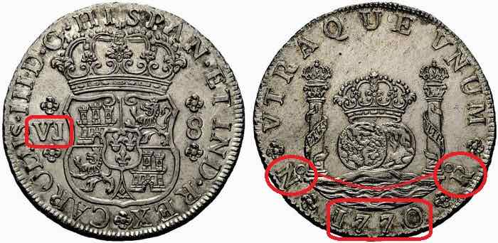 8 reales Carlos III Nuevo Reino 1770