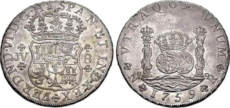8 reales Fernando VI Nuevo Reino 1759 CNG