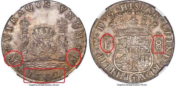 8 reales Mexico Felipe V 1732 Heritage