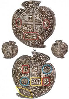 8 reales Potosi 1704 Y Heart