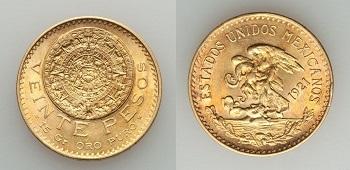 20 pesos mexicanos 1921 sobre 11